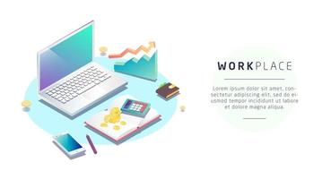 Isometric concept of workplace with laptop and office equipment