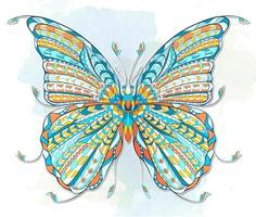 Colorful patterned butterfly on grunge background