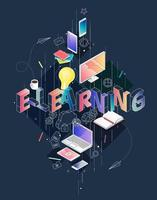 Isometric concept with thin line letters spelling E-Learning