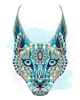 Patterned caracal lynx on the watercolor background