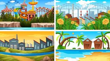 Set of different outside  backgrounds vector