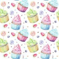 Watercolor pattern with cupcakes lollipops and berries