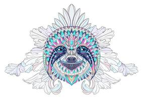 Patterned head of sloth on floral background