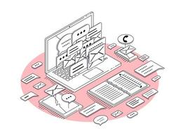 Isometric concept of laptop and office equipment in outline style