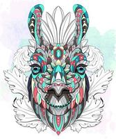 Patterned head of the llama on watercolor background