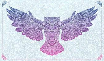 Patterned owl with wings spread on floral background