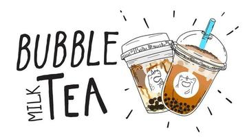 Cartaz do estilo do Doodle do chá do leite da bolha