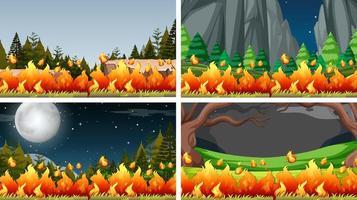 Set van bush fire landschappen