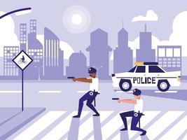 policías con coche en calle de la carretera
