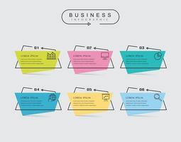 Dünne Linie flache Elemente für Infografik mit 6 Optionen oder Schritten