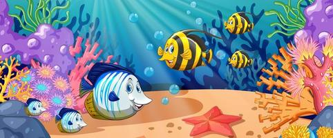Cartoon fish swimming under the ocean