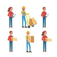 set of delivery men and women with boxes