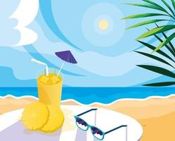 pineapple juice with umbrella and straw design vector