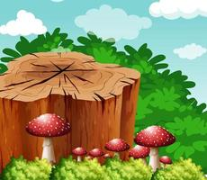 Scene with log and mushroom in garden