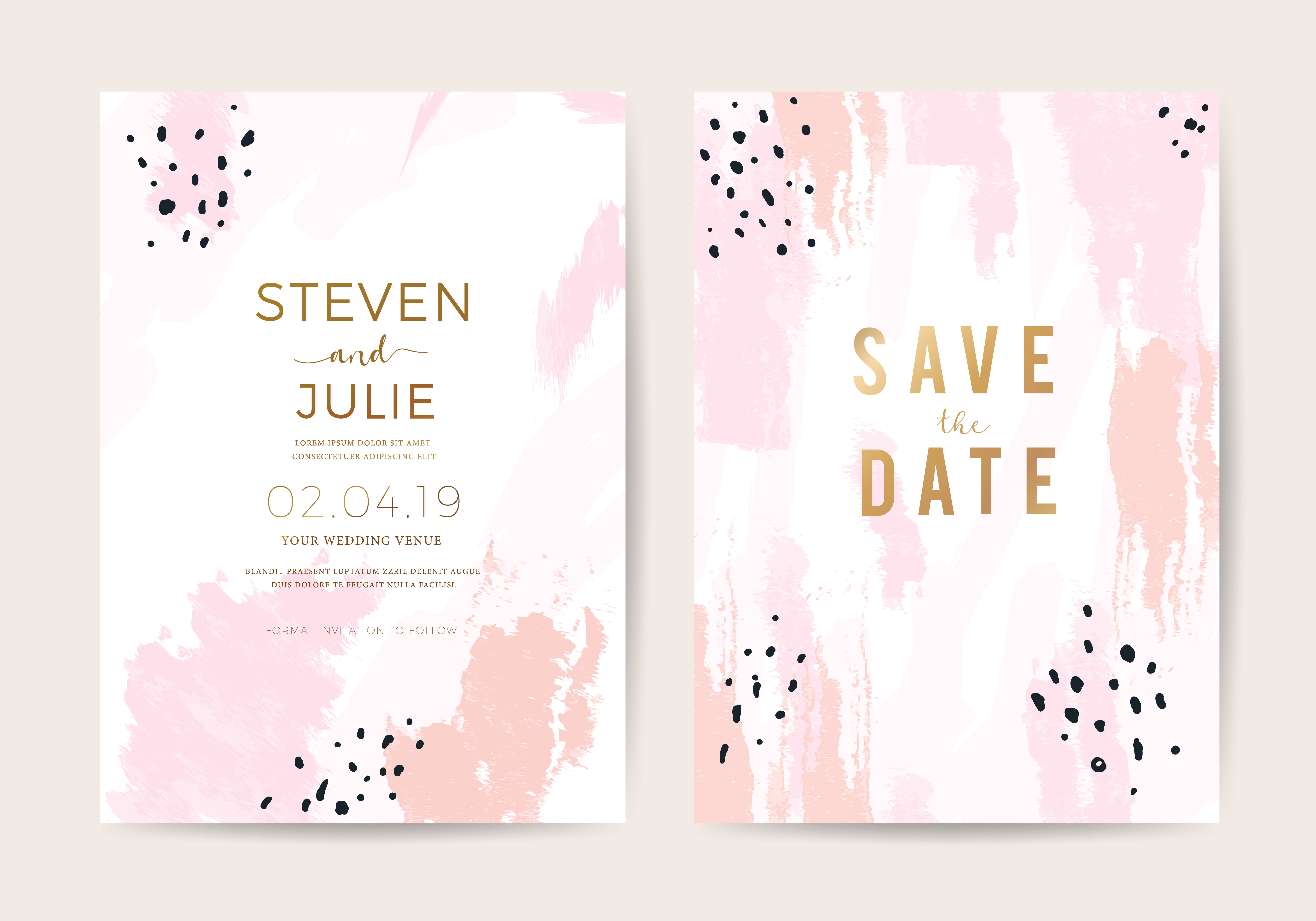 Minimal wedding invitation card design template with pink and rose gold  brush texture - Download Free Vectors, Clipart Graphics & Vector Art