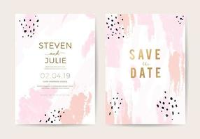 Minimal wedding invitation card design template with pink and rose gold brush texture