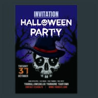 Halloween party night vertical Poster vector