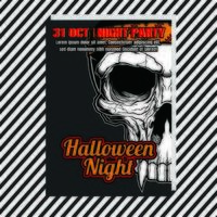 Halloween party night vertical poster with skull vector