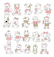 Cute baby animals set