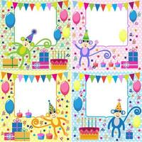 Set of Birthday cards  with funny monkeys
