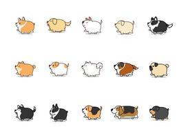 Perro gordo caminando conjunto de iconos de dibujos animados, ilustración vectorial