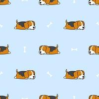 Cute beagle puppy sleeping with bone cartoon seamless pattern