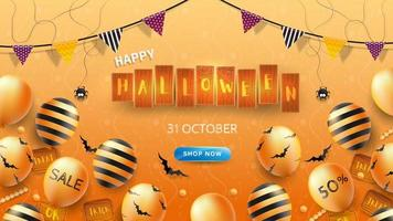 Happy Halloween Banner or Background with Halloween text on wooden boards vector