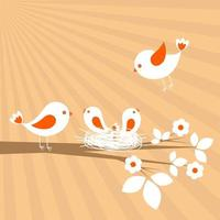 Bird family. Spring vector card