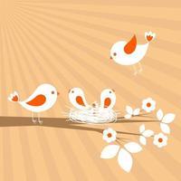 Familia de las aves. Tarjeta de vector de primavera