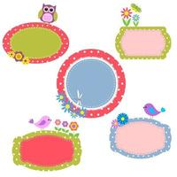 Set of Cute Frames  with Flowers and Birds