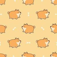 Fat shiba inu dog walking cartoon seamless pattern