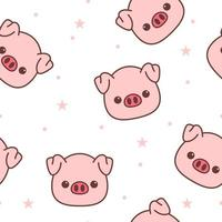Pig face cartoon seamless pattern vector