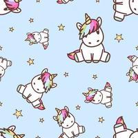 Lindo unicornio sentado de patrones sin fisuras
