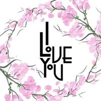 Watercolor Floral Valentine I Love You Background