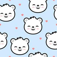 Cute polar bear face cartoon seamless pattern