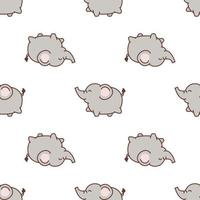 Cute elephant walking cartoon seamless pattern