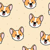 Cute corgi face cartoon seamless pattern
