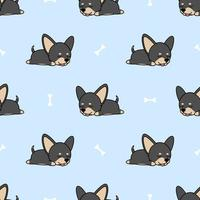 Cute chihuahua dog sleeping seamless pattern