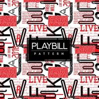 Black and White Playbill Text Seamless Pattern Background