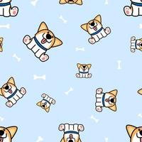 Cute welsh corgi puppy sitting with bones seamless pattern