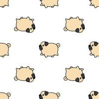 Cute fat pug dog walking cartoon seamless pattern