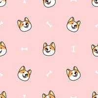 corgi dog face cartoon seamless pattern