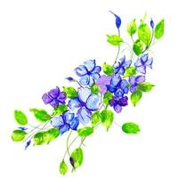 Beautiful Watercolor Blue and Purple Floral Arrangement