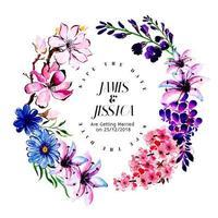 Cartão de convite de casamento floral aquarela colorida