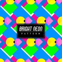 Bright Neon Colorful Shapes Seamless Pattern Background