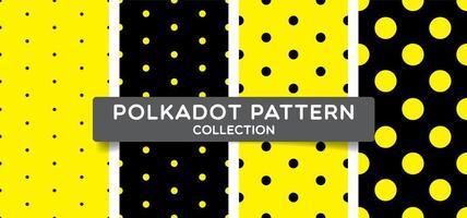 Conjunto de bolinhas preto e amarelo sem costura padrão