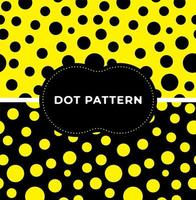 Black and yellow polka dots seamless pattern set