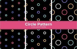 Conjunto de círculos redondos en negro de patrones sin fisuras