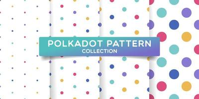 Various size polka dots seamless pattern set vector