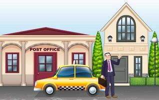 Man en taxi voor het postkantoor